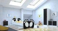 Mama Kiddies 160x80-cm detská posteľ s dizajnom Panda- s matracom