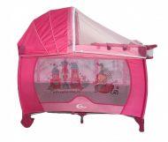 Cestovná postieľka MamaKiddies VIP, farba pink (výškovo nastaviteľné dno a hojdací systém) + Sieťka + DARČEK