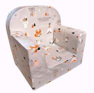 Detská fotelka Prémium  ružová so vzorom indián a zvieratká