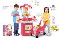38 kusová MamaKiddies HomeChef Deluxe set detská kuchynka - v ružovej farbe