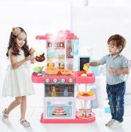 42 kusová MamaKiddies KitchenStar set detská kuchynka - v ružovej farbe