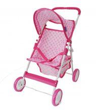 4 kolesový kočík pre bábiky biely s ružovým vzorom