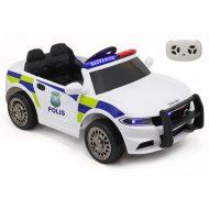 Elektrické policajné auto s diaľkovým ovládaním v bielej farbe