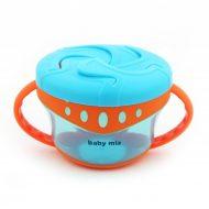 Baby Mix hrnček s viečkom a uškom - modrý
