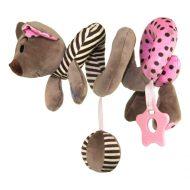 Baby Mix špirálová plyšová hračka s hryzátkom - ružová myška