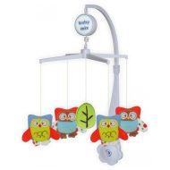 Baby Mix plyšová rotačná a hudobná hračka na postieľku - sovičky