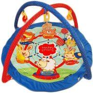 Baby Mix detská deka na hranie s modrým okrajom a zvieratkami