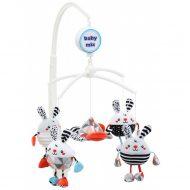 Baby Mix rotačná a hudobná hračka na postieľku s plyšovými zajačikmi