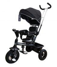 Baby Mix Rider detská trojkolka s otočným sedadlom o 360° s vodiacou páčkou a opierkou na nohy v čiernej farbe