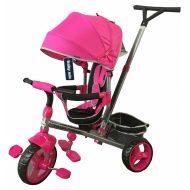 Baby Mix Tour Triker detská trojkolka s otočným sedadlom o 360° s vodiacou páčkou a opierkou na nohy vo farbe Pink