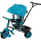 Baby Mix Tour Triker detská trojkolka s otočným sedadlom o 360° s vodiacou páčkou a opierkou na nohy v tyrkysovej farbe