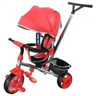 Baby Mix Tour Triker detská trojkolka s otočným sedadlom o 360° s vodiacou páčkou a opierkou na nohy v červenej farbe