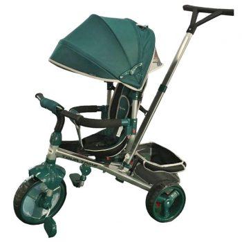 Baby Mix Tour Triker detská trojkolka s otočným sedadlom o 360° s vodiacou páčkou a opierkou na nohy vo farbe zelenej