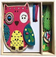 Drevená hračka na rozvíjanie zrucností sova s doplnkami