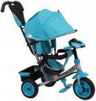 Baby Mix Detská trojkolka s vodiacou rúčkou a opierkou na nohy (hracia prístrojová doska a svetlá) tyrkysová