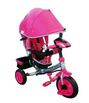 Baby Mix Detská trojkolka s vodiacou rúčkou a opierkou na nohy (hracia prístrojová doska a svetlá) pink