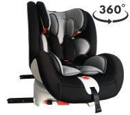 Detská autosedačka MamaKiddies Rotary s 360° otáčaním (0-36kg) s ISOFIX systémom, farba čierno-sivá + DARČEK