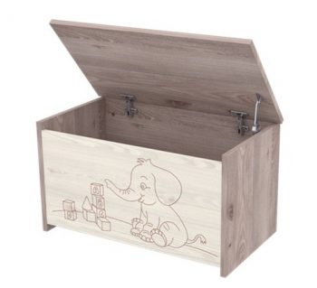Detský box so sloníkom na hračky s teleskopom v šedo - hnedej farbe