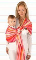 Womar baby šatka na nosenie detí Hug Me s krúžkom - sivo oranžová s červenými pásikmi
