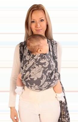 Womar baby šatka na nosenie detí Hug Me- sivá kvetinková - Detské ... 82e0ef1929