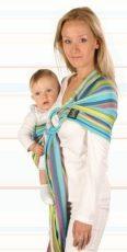 Womar baby šatka na nosenie detí Hug Me s krúžkom - tyrkysová- so zelenými pásikmi