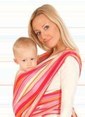 Womar šatka na nosení detí Be Close  Eko oranžová s červenými pásikmi
