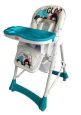Detská multifunkčná jedálenská stolička MamaKiddies ProComfort, farba modrá s tučniakom + Darček